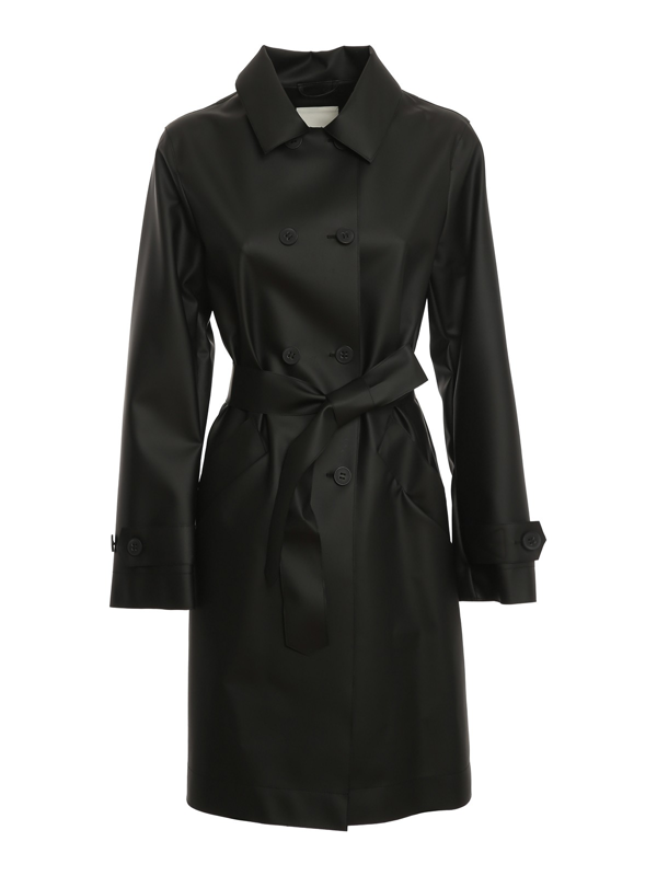 Add Faux Leather Trench Coat In Black