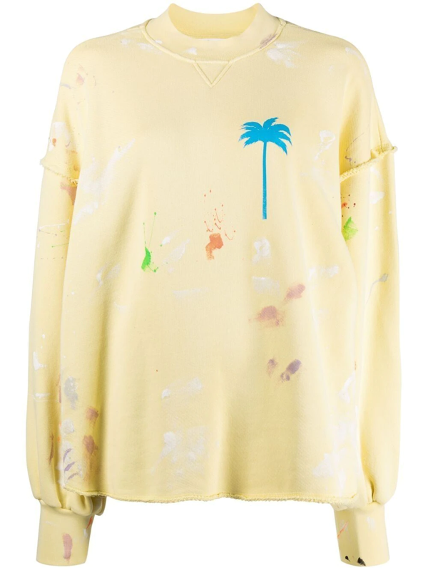 Palm Angels Paint Spatter Oversize Cotton Sweatshirt In Baby Yellow Blue