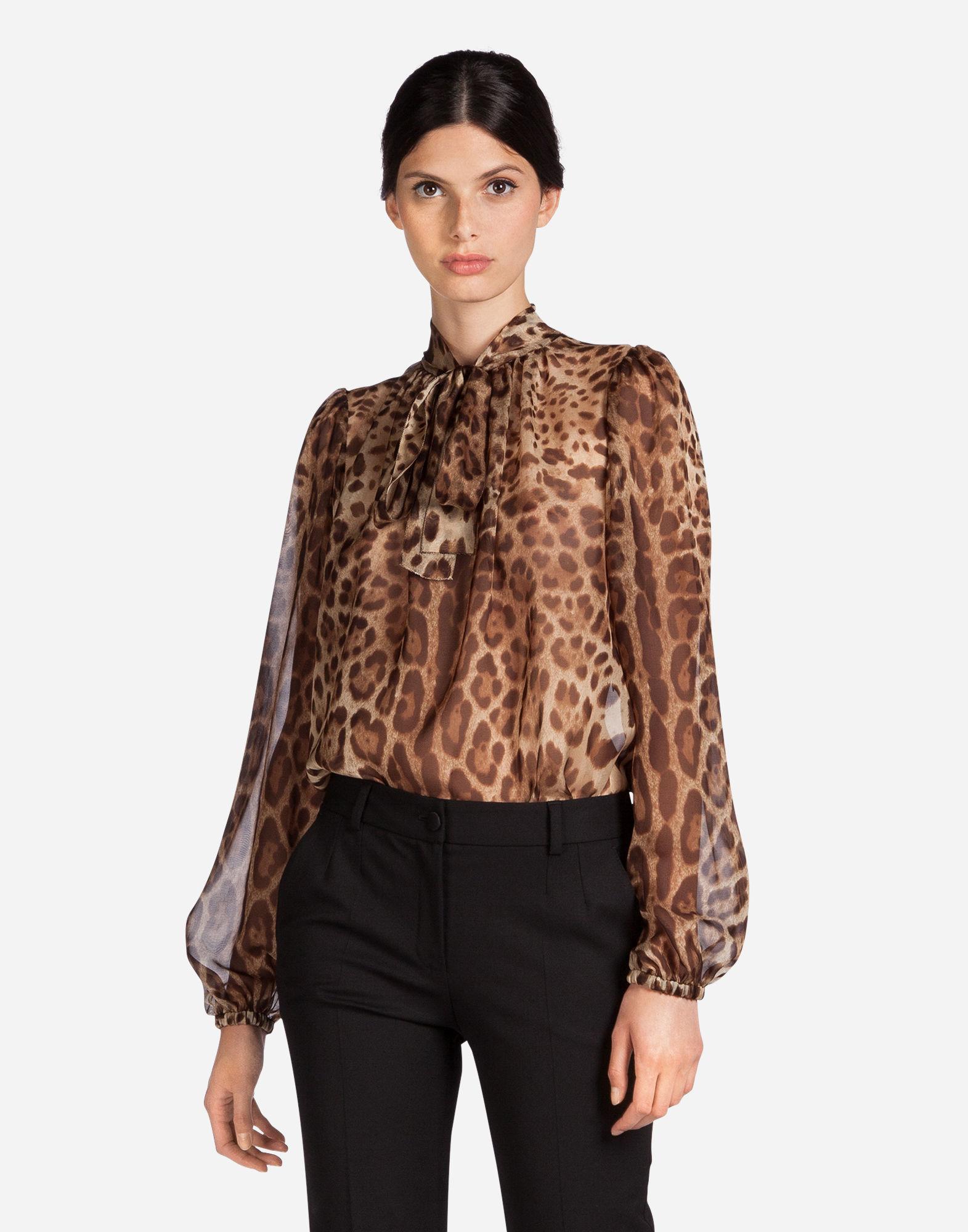 Dolce & Gabbana Printed Silk Blouse In Leo Print