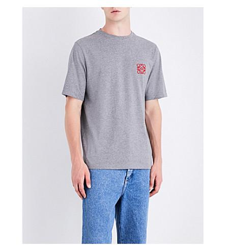 21799c1b6f0 Loewe Embroidered MÉLange Cotton-Jersey T-Shirt In Grey | ModeSens