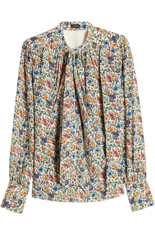 Joseph Pussy Bow Floral Blouse In Florals