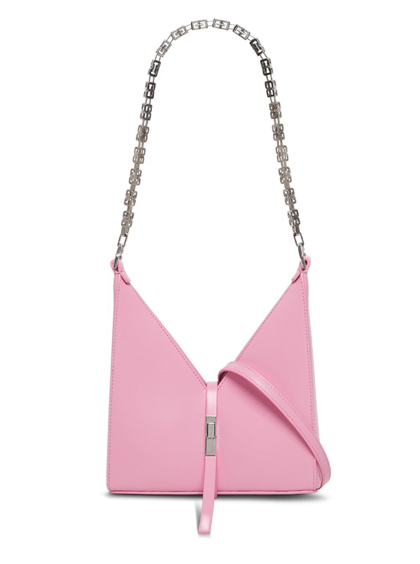 Givenchy Cut Out Crossbody Bag In Pink Leather In Rosa