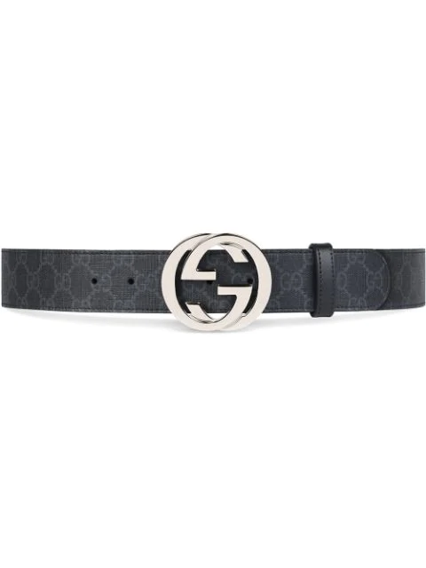 Gucci Interlocking G-Buckle Leather Belt In 8449 Black/Nero