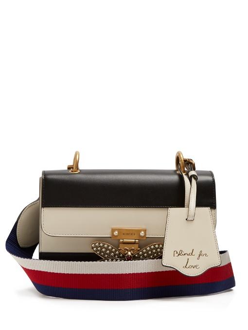 587c968af4ece Gucci Queen Margaret Leather Shoulder Bag In Black White | ModeSens