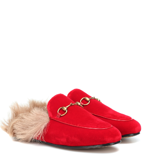 Gucci Princetown Horsebit-Detailed Shearling-Lined Velvet Slippers In Red