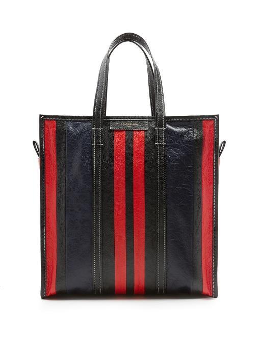 939b1d781 Balenciaga Medium Bazar Striped Leather Shopper In Black Multi ...