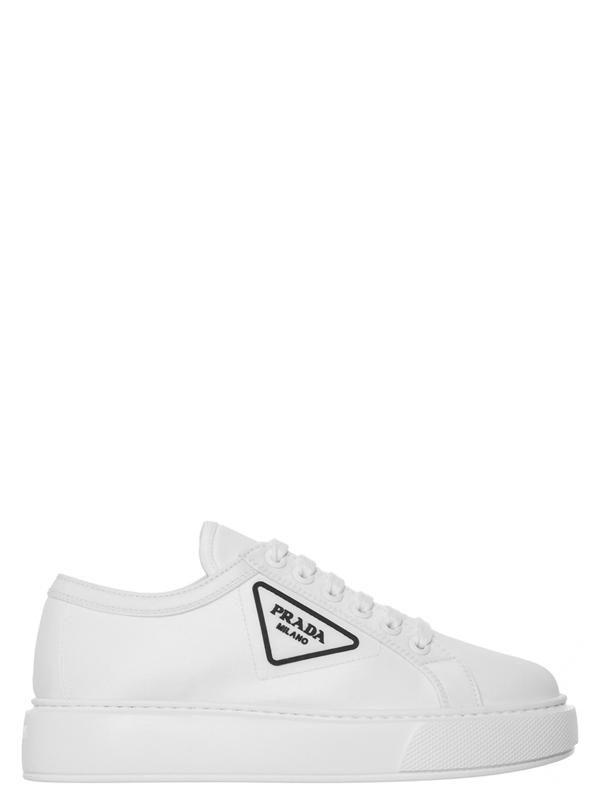 Prada Logo Plaque Platform Sneakers In White