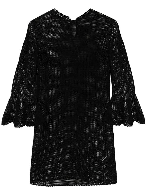 Patou Open-knit Cotton Dress In Black