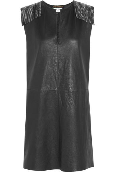 Saint Laurent Embellished Leather Minidress In Eero