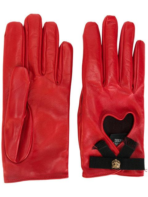 2312ad3619c Gucci Leather Gloves W  Bow   Cat Detail In Red