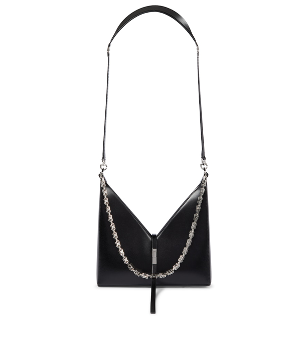 Givenchy Small Cutout Shoulder Bag In Box Leather With Chain In Ivory