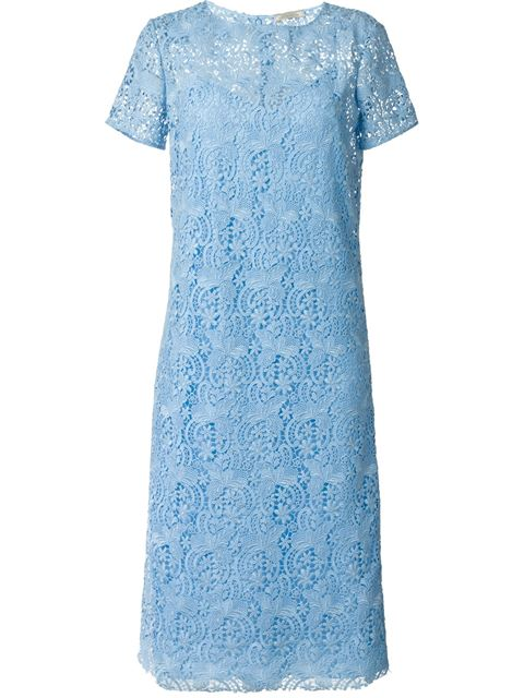 Nina Ricci Short-sleeve Lace Midi Dress, Sky Blue In Skyblu