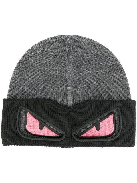 69b38a51015 Fendi Eyes Knitted Beanie Hat - Grey