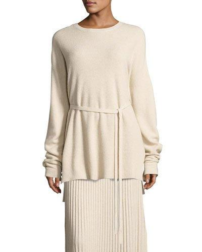 71389fea9c Elizabeth And James Gisella Slouchy Rib-Knit Crewneck Belted Sweater In  Beige