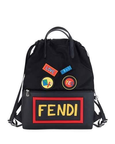 29982acadd83 Fendi Patch Nylon Backpack W  Leather Pocket In Jbx Black