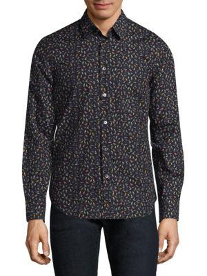 Paul Smith Mini Bird Cotton Button-Down Shirt In Navy