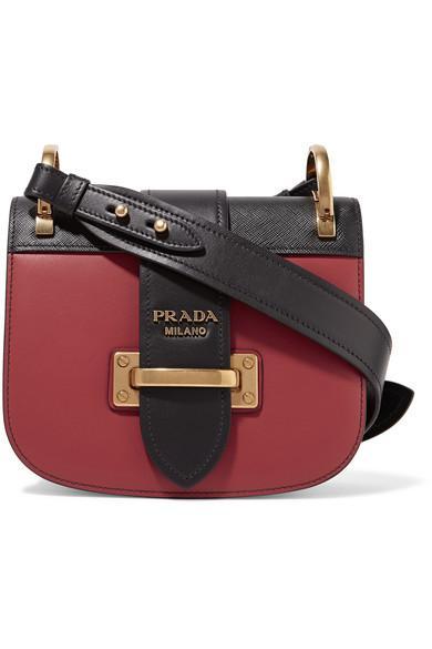 d19fdb01850a Prada PionniÈRe Two-Tone Leather Shoulder Bag In Crimson   ModeSens