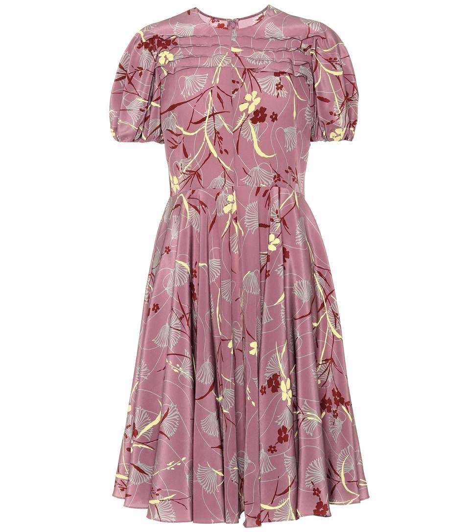 Valentino Floral-Printed Silk Dress In Multicoloured