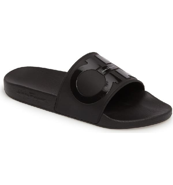6178d78f9 Salvatore Ferragamo Men s Groove 2 Original Double Gancini Slide Sandals In  Black