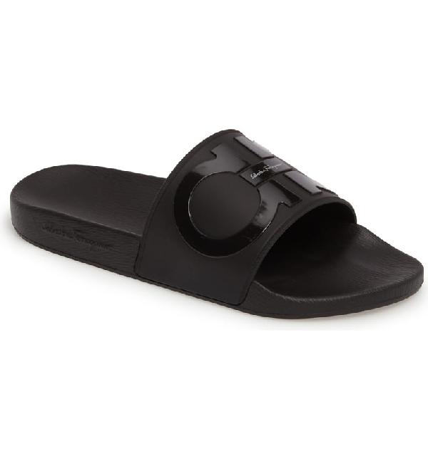 67d0c0cb41c69 Salvatore Ferragamo Men's Groove 2 Original Double Gancini Slide Sandals In  Black