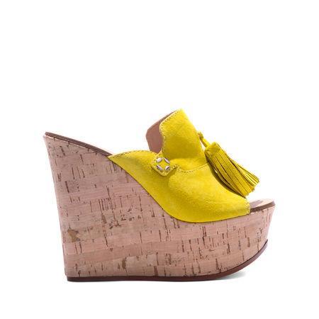 Casadei Wedges In Cork Yellow