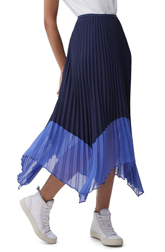 French Connection Ali Pleated Midi Skirt- Nocturnal/bay Blue-73qav In Nocturnal-bay Blue