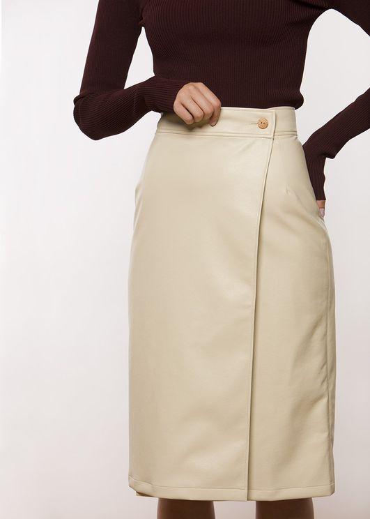 Aeron Brenda Wrap Pencil Skirt - Faux Leather - Eggshell In White