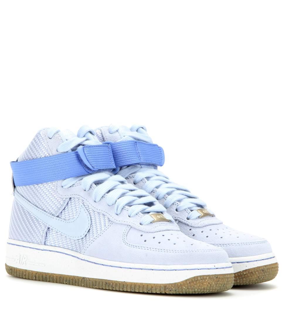 Nike Airforce 1 Suede High Top Sneakers In Blue