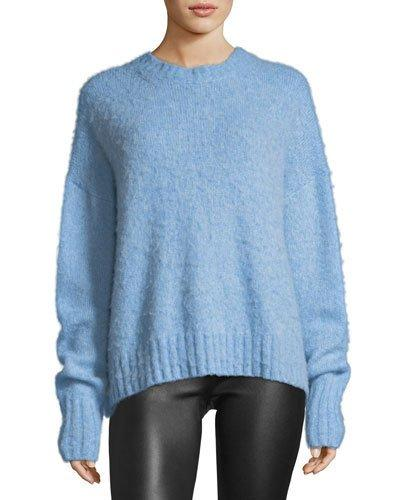 55db5fa9480026 Helmut Lang Crewneck Brushed Wool Pullover Sweater In Blue | ModeSens