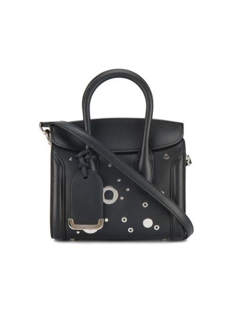 Alexander Mcqueen Heroine 21 Mini Leather Satchel Bag With Hardware Detail, Black