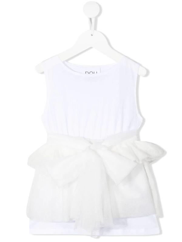 Douuod Teen Tulle-overlay Sleeveless Top In White
