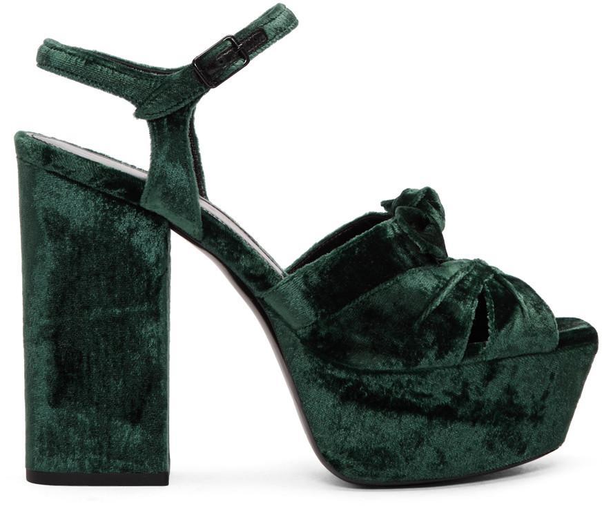 c7ee44f26c82 Saint Laurent Farrah Velvet Platform Sandals In Dark Green
