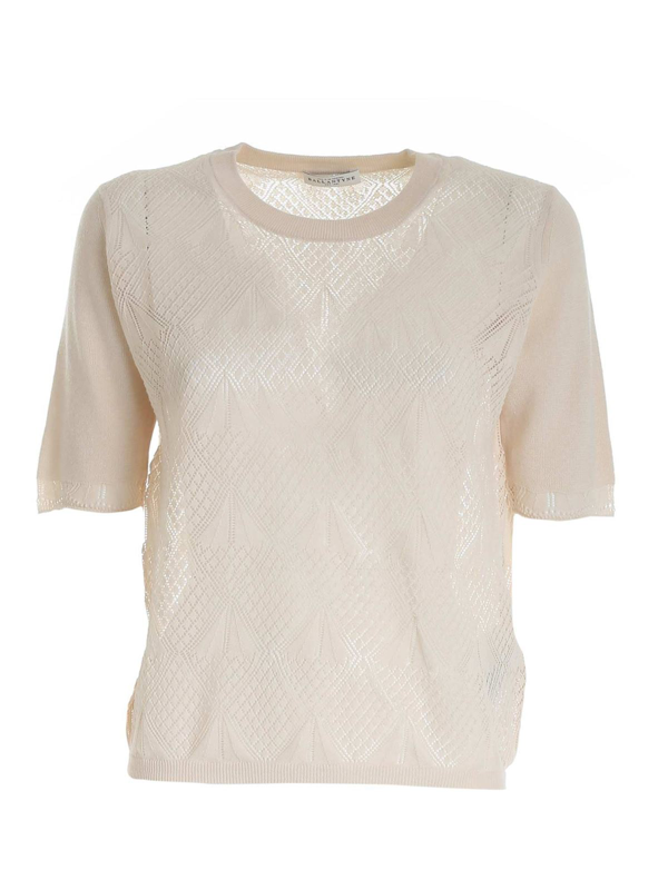 Ballantyne Drilled Knitted Pullover In Beige