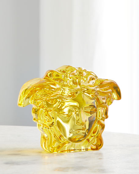 Versace Medusa Lumiere Crystal Paperweight In Amber