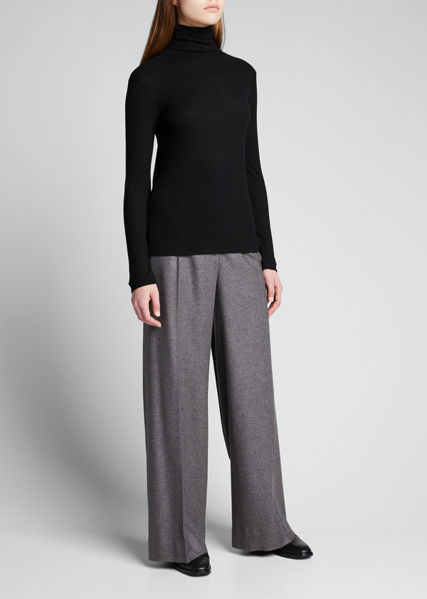 Loulou Studio Ribbed Wool And Cachemire Sweater In Black