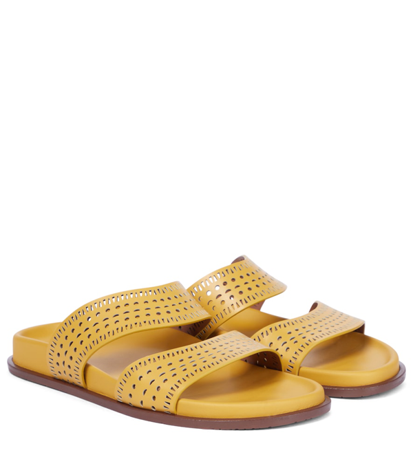 Alaïa Beaded Gladiator Flat Thong Sandals In Tan Clair