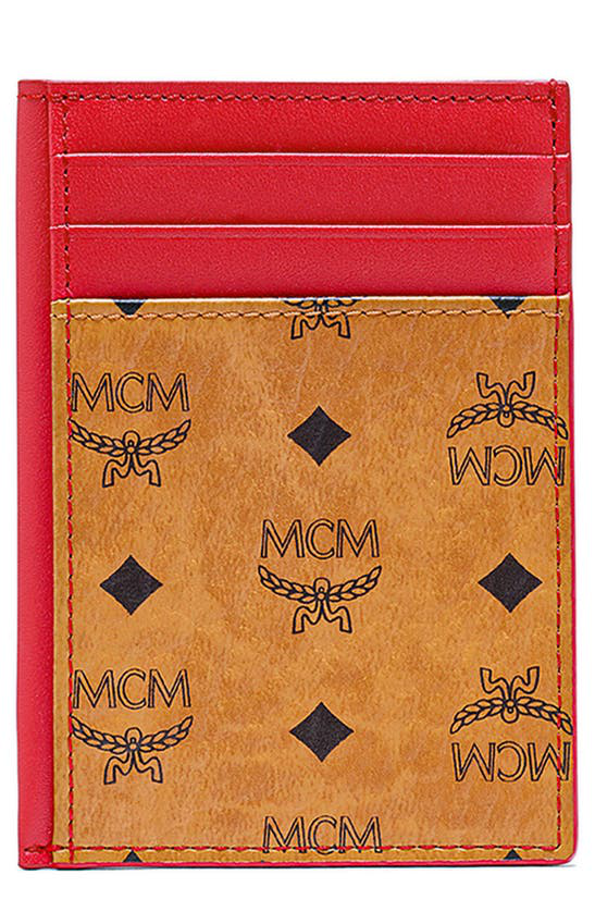 Mcm Men's From The Visetos Original Collection. Vertical Card Case In Cognac/ Red