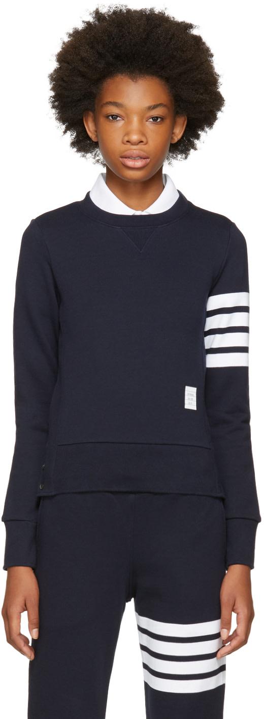 Thom Browne Intarsia Stripes Cotton Sweatshirt In 415 Navy