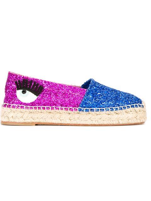 Chiara Ferragni 'natalie' Glitter Espadrilles In Blue & Fuchsia