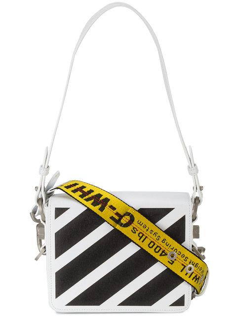 204da29de9 Off-White Striped Textured-Leather Shoulder Bag In White