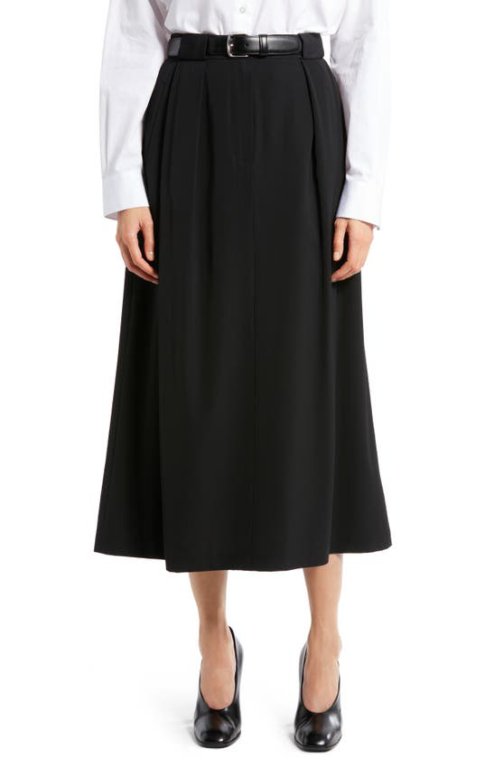 The Row Jaako Pleated Crepe Midi Skirt In Black