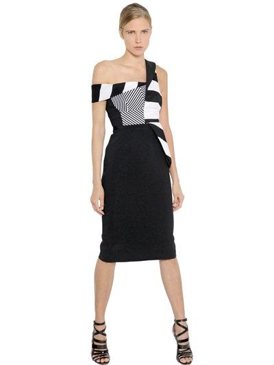Antonio Berardi Striped Stretch Crepe Cady Dress In Black/white