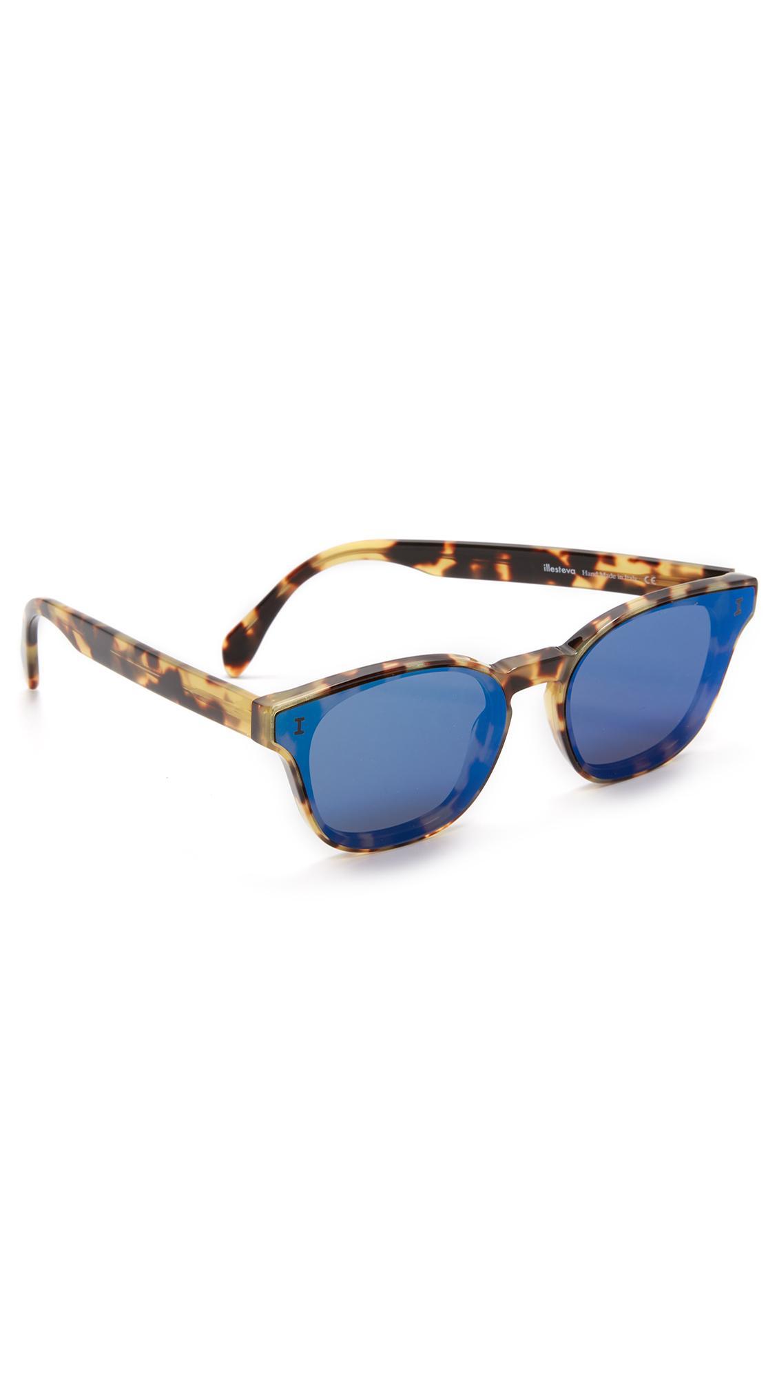 0f4d631fb Illesteva Martinique Sunglasses In Tortoise/Blue Mirror   ModeSens