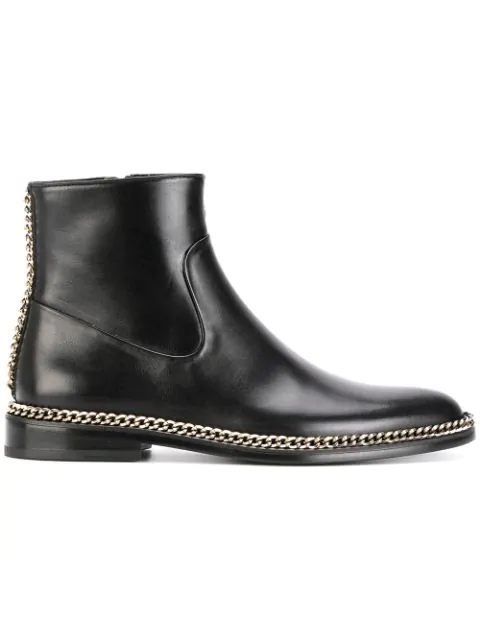 Lanvin Chain-embellished Leather Chelsea Boots In Black