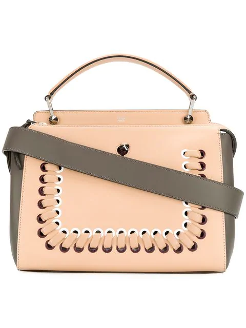 edf60702c0b2 Fendi Dotcom Bi-Colour Whipstitch Leather Bag In Neutrals