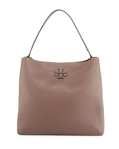 972a42e41bb38 Tory Burch Mcgraw Leather Hobo Bag In Silver Maple Brown Gold