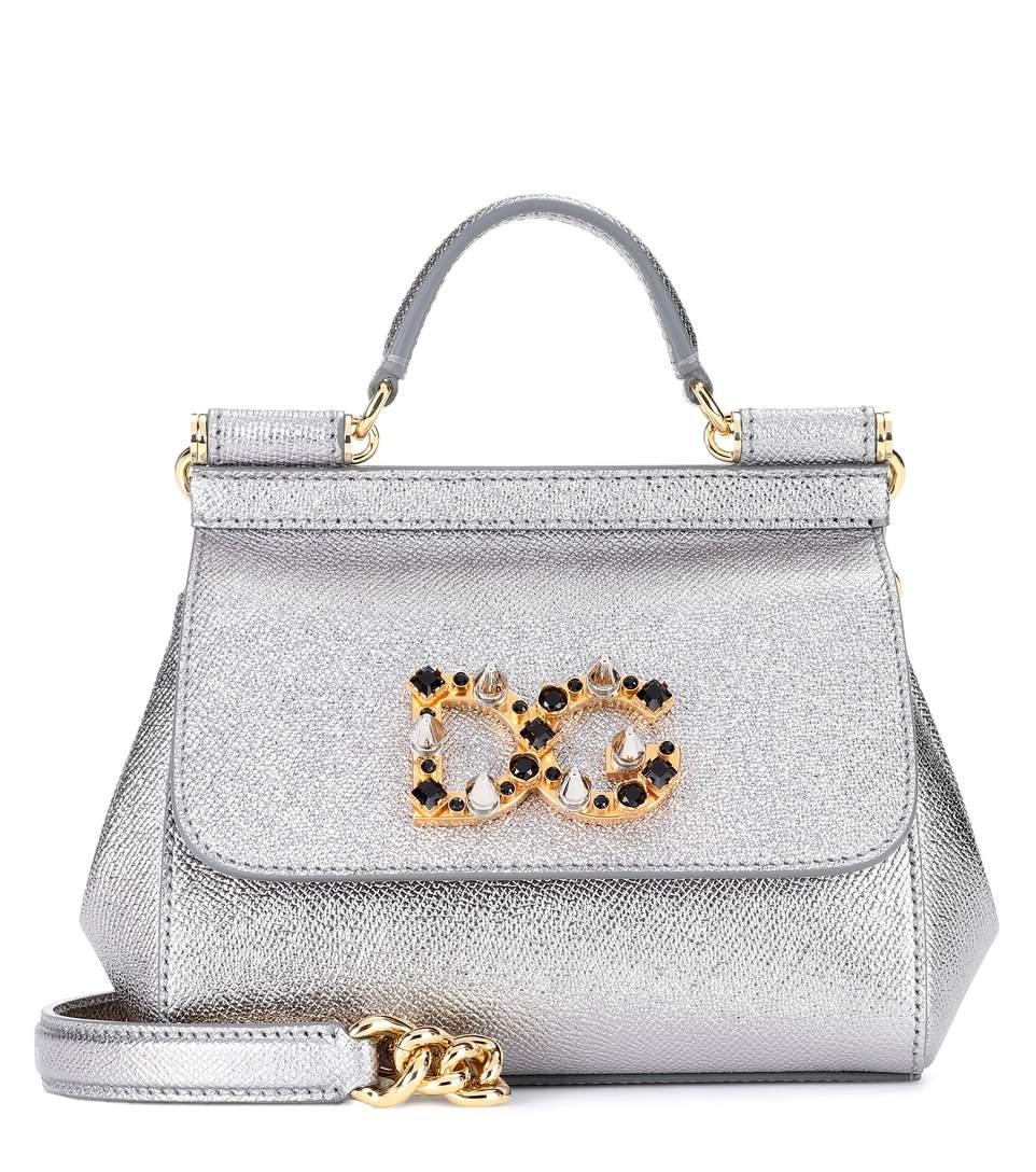 0effa07a0f52 Dolce   Gabbana Sicily Mini Leather Shoulder Bag In Silver