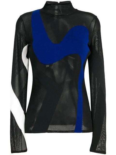 Proenza Schouler Colour-Block Sheer Knitted Top In Black