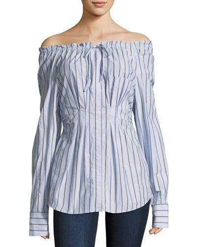 Tibi Woman Off-The-Shoulder Striped Cotton-Poplin Top Light Blue In Multi