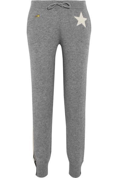 988fbdff Bella Freud Billie Intarsia Metallic-Trimmed Cashmere-Blend Track Pants In  Gray